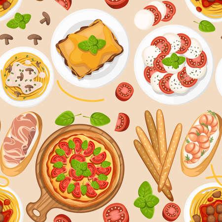 Seamless pattern. Italian cuisine.