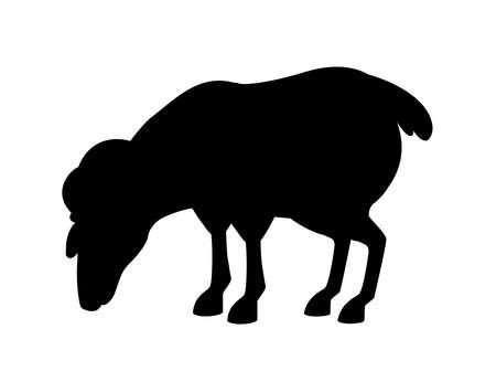 Black silhouette horned mountain ram sheep eating cartoon character design Illustration