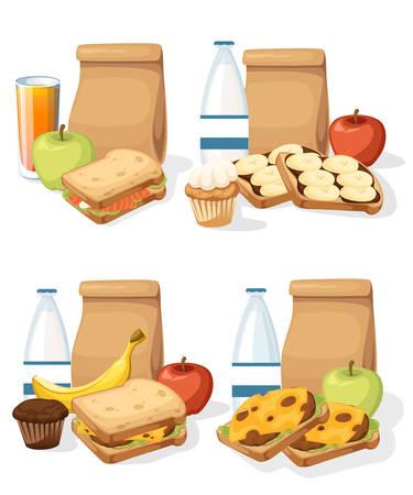 Ensemble de différents déjeuners avec des sacs en papier, des sandwichs, des boissons et des fruits. Recycler le sac en papier brun.