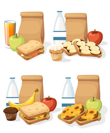 Set of different lunches with paper bags sandwiches drinks and fruits. Recycle brown paper bag. Illustration