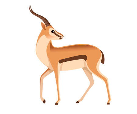 African wild black-tailed gazelle with long horns head looks back cartoon animal design