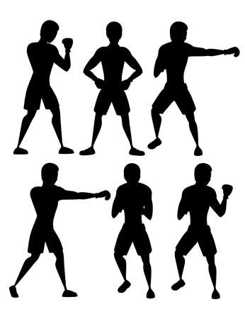 Black silhouette set of boxer in sports pants with boxing gloves punching training cartoon character design Stock Vector - 124963062
