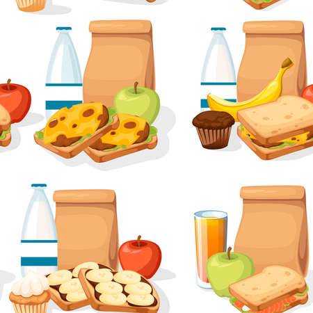 Seamless pattern of different lunches with paper bags sandwiches drinks and fruits. Banque d'images - 124963058