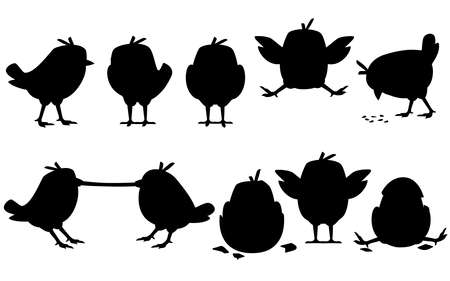 Black silhouette set of cute little chick walk side view cartoon character design flat