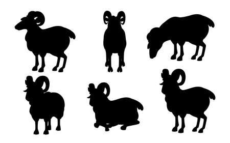 Black silhouette set of horned mountain ram sheep cartoon character design flat vector animal Çizim