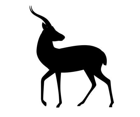 Black silhouette African wild black-tailed gazelle with long horns head looks back cartoon animal design flat