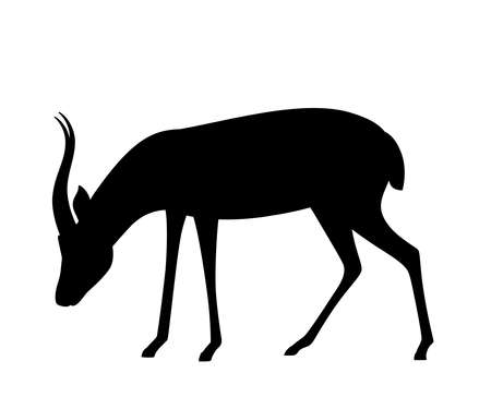 Black silhouette African wild black-tailed gazelle with long horns cartoon animal design 일러스트