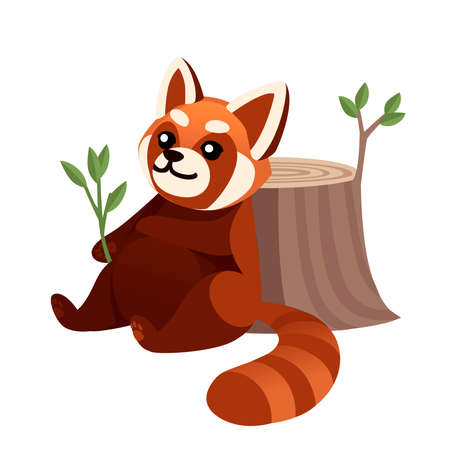 Cute adorable red panda sitting back to stump and resting after eating cartoon design animal character