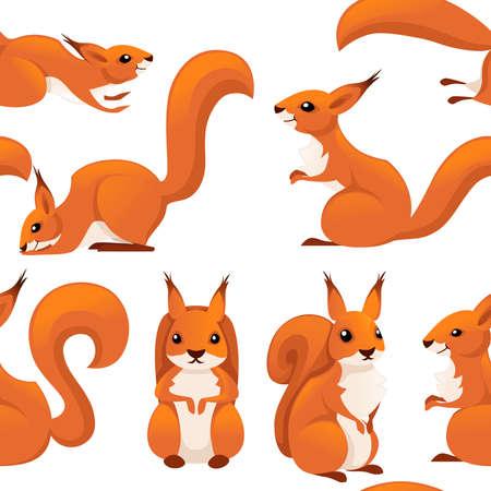 Nahtloses Muster des netten Karikatureichhörnchens.
