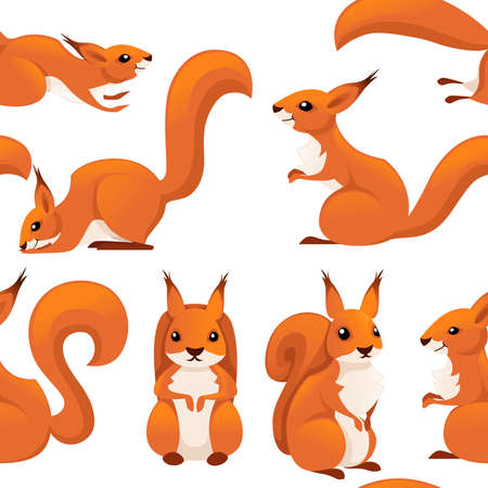 Seamless pattern of cute cartoon squirrel. Illustration