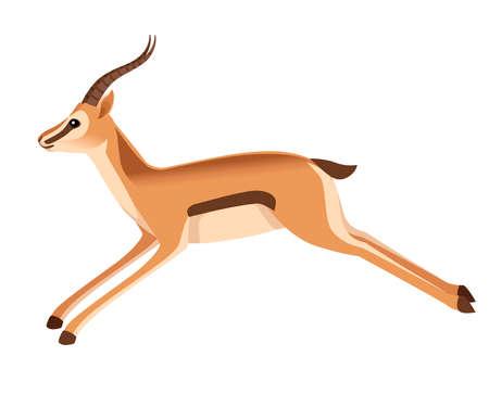 African wild black-tailed gazelle with long horns cartoon animal design flat