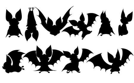 Black silhouette set of Cartoon bat. Cute vampire bat, flying mammal.