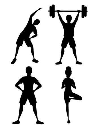 Black silhouette set of people in sportswear doing fitness and strength exercising