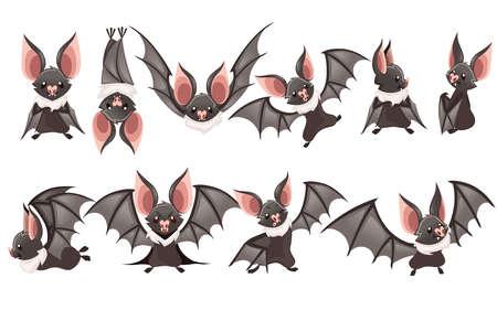 Set of Cartoon bat. Cute vampire bat, flying mammal.