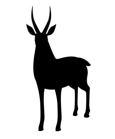 Black silhouette African wild black-tailed gazelle with long horns cartoon animal design flat 일러스트