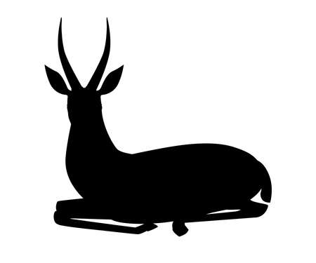 Black silhouette African wild black-tailed gazelle with long horns cartoon animal