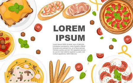 Italian cuisine. Pizza, spaghetti, risotto, bruschetta and grissini. Illustration