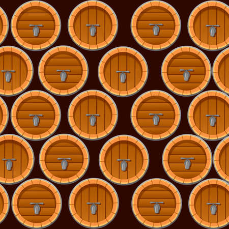Seamless pattern of wooden wine or beer barrels flat