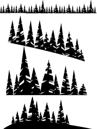 Black silhouette set of winter evergreen coniferous forest trees on white background flat vector illustration.