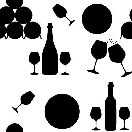 Seamless pattern. Stack of wooden alcohol barrel, red and white wine in bottle. Ilustração