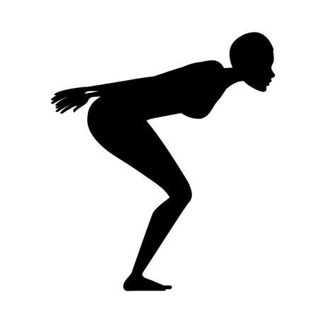Black silhouette athlete woman in swimsuit prepare to jump in water cartoon character design flat