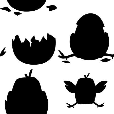 Black silhouette. Seamless pattern of cute little cartoon chick with hat from egg shell and without cartoon character design