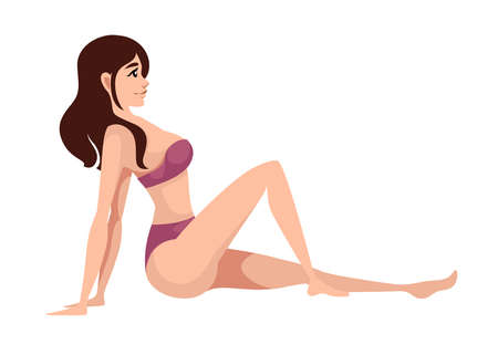 Beautiful women in purple swimsuit sitting cartoon character design flat vector illustration.