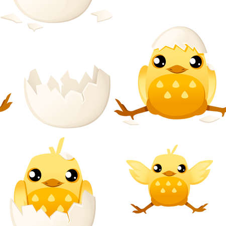 Seamless pattern of cute little cartoon chick with hat from egg shell and without cartoon character design