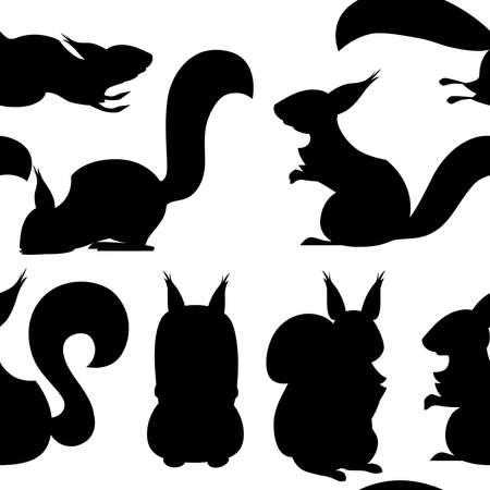 Black silhouette. Seamless pattern of cute cartoon squirrel.