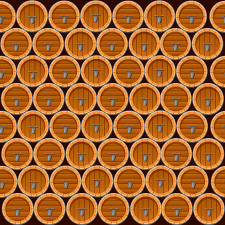 Seamless pattern of wooden wine or beer barrels flat