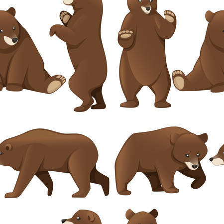 Seamless pattern of grizzly bears. North America animal, brown bear.