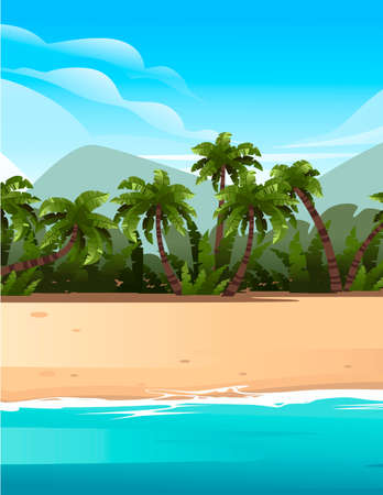 Vertical tropical landscape of coast beautiful sea shore beach with palm trees and plants on good sunny day flat vector illustration with blue sky and hills on background. Vettoriali