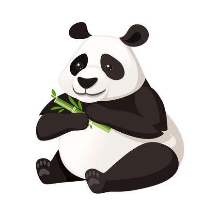 El panda grande lindo se sienta en el piso y sostiene el diseño animal de la historieta de la rama de bambú