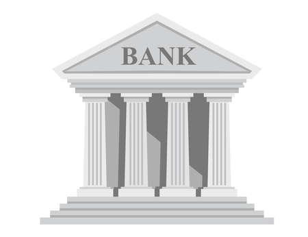 Edificio de banco retro de diseño plano con columnas sin ilustración de vector de ventanas aislado sobre fondo blanco.
