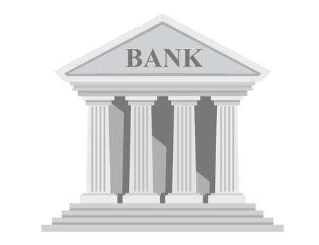 Flat design retro bank building with columns without windows vector illustration isolated on white background.