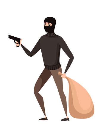 Thief during robbery holding bag in one hand and pistol in another hand cartoon character design flat vector illustration.