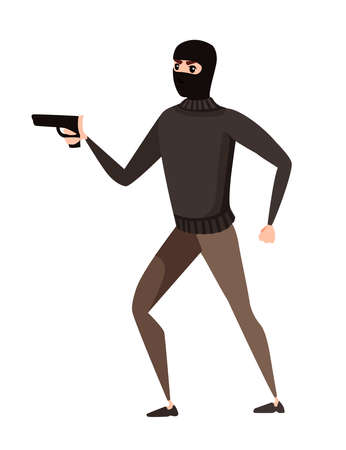 Thief during robbery holding gun in one hand cartoon character design flat vector illustration. Illustration
