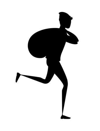 Black silhouette running thief during robbery with bag cartoon character design flat vector illustration.