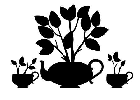Black silhouette ceramic teapot and two cup with tea bush growing out of it flat vector illustration on white background. 矢量图像