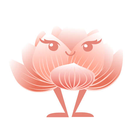 Pink lotus flower mascot cartoon character design flat vector illustration.