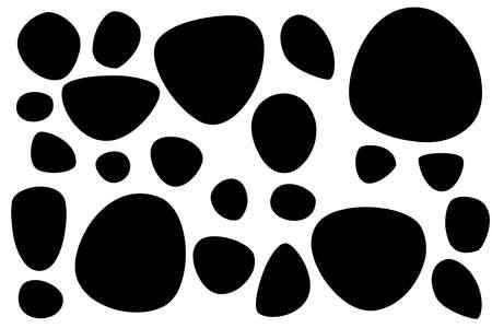 Silhouette nera set di pietre lisce o ciottoli illustrazione vettoriale piatto isolato su sfondo bianco.
