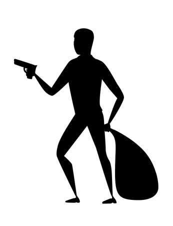 Black silhouette thief during robbery holding bag in one hand and pistol in another hand cartoon character design flat vector illustration.