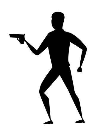 Black silhouette thief during robbery holding gun in one hand cartoon character design flat vector illustration.