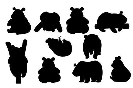 Conjunto de silueta negra de lindo panda grande en diferentes poses ilustración de vector plano de diseño animal de dibujos animados.