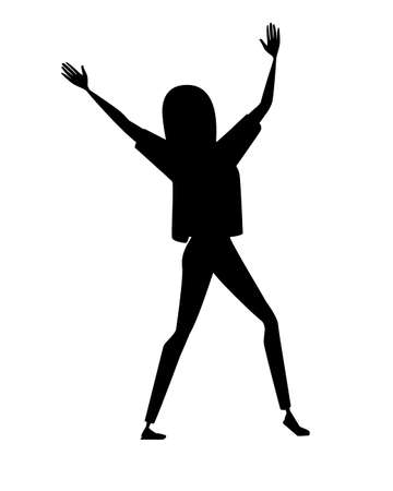 Black silhouette happy woman in sport casual clothes with up raised arms cartoon character design flat vector illustration isolated on white background.