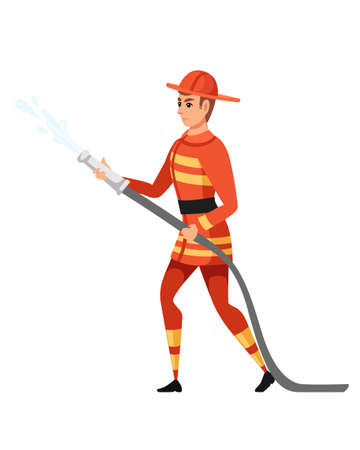 Adult male firefighter stand on ground wearing fireproof form holding a fire hose and putting out a fire with water cartoon character design flat vector illustration. Ilustrace