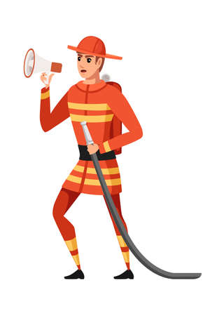 Adult male firefighter stand on ground wearing fireproof form holds a fire hose and speaks into a loudspeaker cartoon character design flat vector illustration.