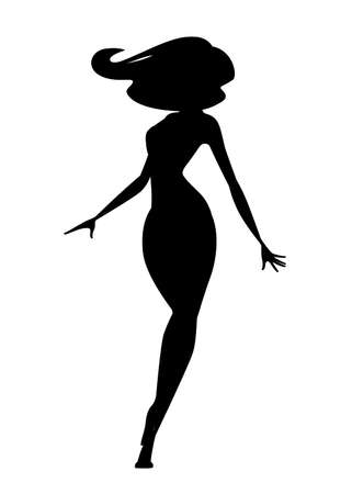 Black silhouette beautiful fashion woman standing cartoon character design flat vector illustration.