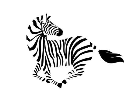African zebra running with head looks back side view outline striped silhouette animal design flat vector illustration isolated on white background. 矢量图像