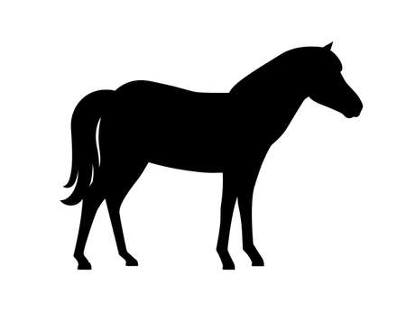 Black silhouette horse wild or domestic animal cartoon design flat vector illustration isolated on white background.